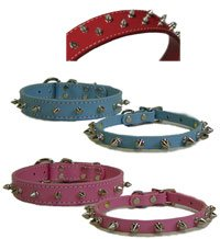"""Amazon.com : Spiked Leather Dog Collar - Red - 1"""" x 22 ..."""