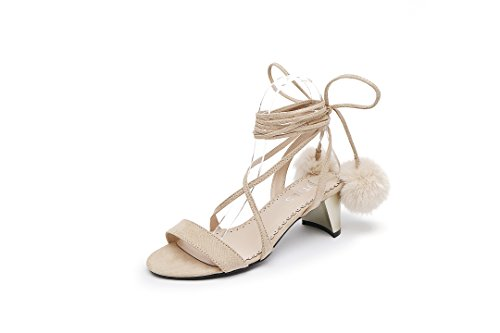 Versión Coreana De Sandalias Xia Nuevo Estilo con El Dedo del Pie De Rocío del Vendaje con Palabra De Roma con Zapatos De Tacón Alto. Apricot color