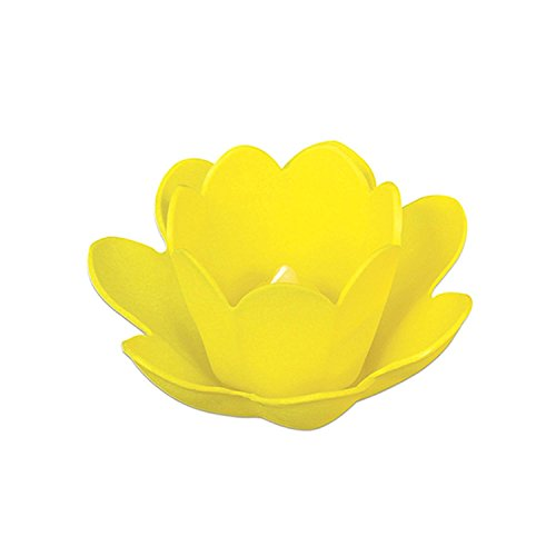 """Swim Central 8.5"""" Yellow Floating Enchanting Blossom Light with Votive Candle for Pool and Patio"""