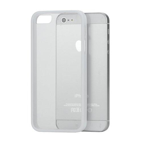 iProtect TPU Plastik Schutzhülle iPhone 5 / 5S Case transparent und weiß