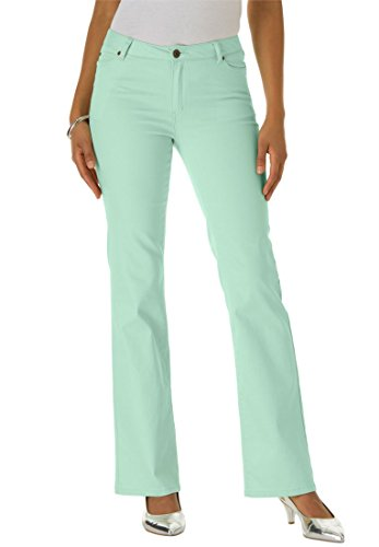 Roamans Plus Size Petite Bootcut Jeans With Invisible Stretch Waistband (Light Melon,18