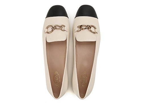 Flats Leather Tod's Model Black Number Toe Off White White Lux In XXW13A0S840FZT0H62 Ballerinas Yrqrd