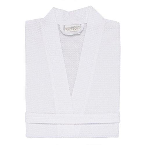 TowelRobes Waffle Kimono Bathrobe Square Pattern Unisex (large/one size, White) (Unisex Kimono)