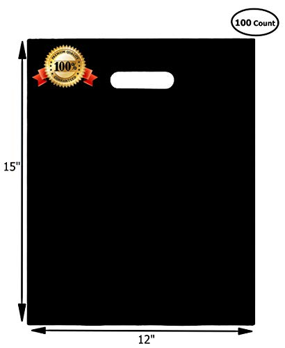 100 Merchandise Bags 12x15 Black, Die Cut Handles, No Gusset, 1.25 Mil. Strong, Durable, and Tear Resistant Bags Perfect for Retail, Boutiques or Events