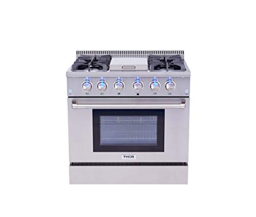 Thor Kitchen HRG3617U Gas Range, 36 in. in, Stainless Steel