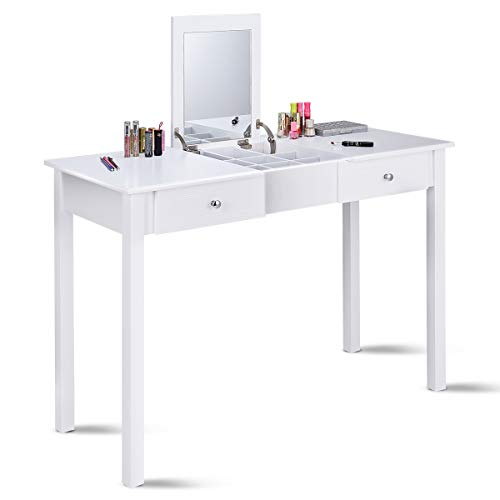 Giantex Vanity Dressing Table with Flip Makeup Mirror, Simple Style Multifunctional as Writing Desk with 9 Removable Divider Organizers for Storage, Vanity Tables Organizer w/ 2 Drawers, White Review