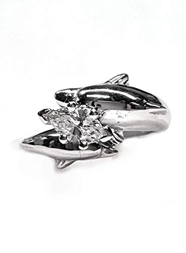 2 Full Dolphins in a Diamond Engagement Ring 45pt Marquise Center