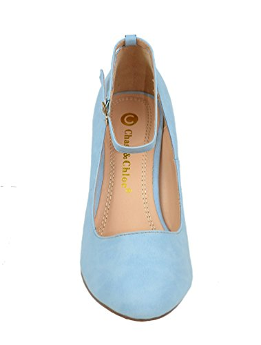 Chase & Chloe Kimmy-32 Womens Round Toe Vintage Pump With Adjustable Buckle Ankle Strap Serenity Blue Pu UFnOhY
