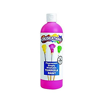 Colorations Washable Tempera Paint, 16 fl oz, Fluorescent Pink, Neon, Non Toxic, Vibrant, Bold, Bright, Kids Paint, Craft, Hobby, Fun, Art Supplies: Industrial & Scientific