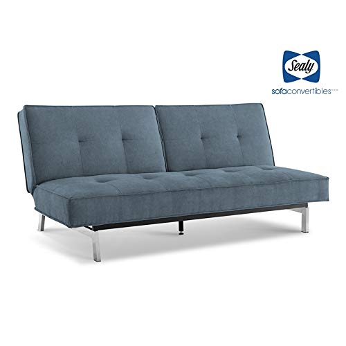 (Sealy Anson Transitional Split-Back Convertible Microfiber Sofa in Blue)