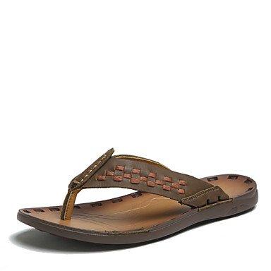 Sandalias de verano zapatos de hombre exterior / Casual sandalias de cuero Nappa marrón / azul / naranja Naranja