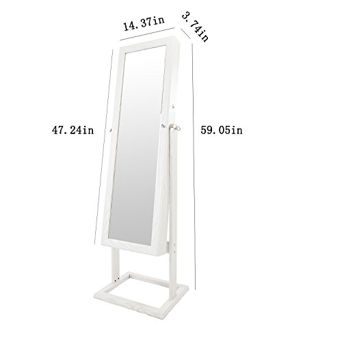Bonnlo Jewelry Armoire Square Stand with 4 Adjustable Angle Tilting, Well Packed by styrofoam & Stiffer Covering, Lockable Heavy Duty Bedroom Make up Mirror Cabinet Organizer Closet by Bonnlo (Image #6)