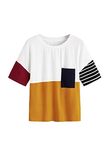 (Romwe Women's Casual Short Sleeve Top Pocket Front Colorblock Stripe Tee Shorts Write M White)