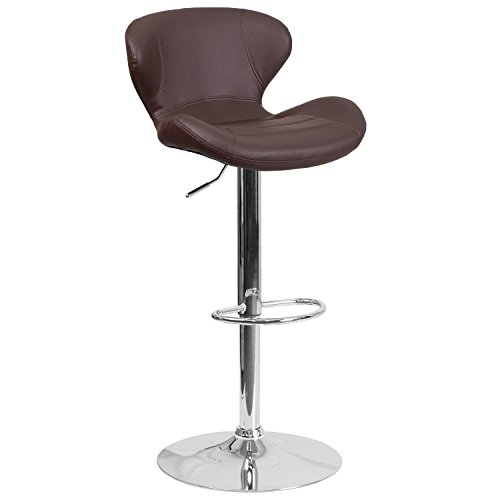 Flash Furniture Contemporary Brown Vinyl Adjustable Height Barstool with Chrome Base (Chair Stool Adjustable Bar)