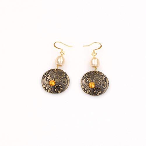 Flower Saucer Disc Earring - Swarovski Baroque Pearl Topaz Crystal 1.5-in