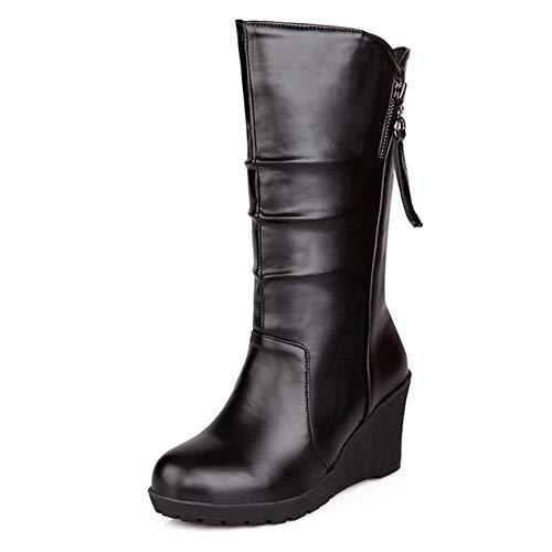 CHICMARK Women Mid-Calf Wedge Boots Black