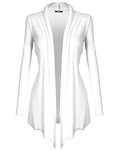 White Womens Sweater - DRSKIN Women's Open - Front Long Sleeve Knit Cardigan (Cardigan White, XL)