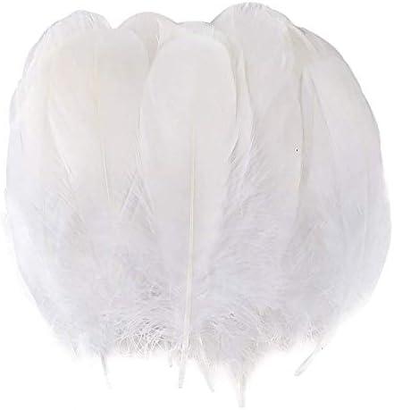 BAKHK 150 Stück 12-18cm Natürlich Größere Weiß Federn zum Basteln DIY, Naturfedern Gänsefedern für Kopfschmuck