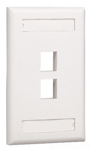(Panduit NK2FEIY 1-Gang 2-Port Faceplate with Label, Electric Ivory)