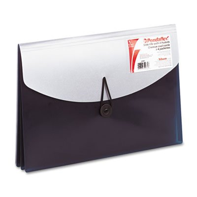Pendaflex Document Esselte Wallet Letter (Pendaflex : Four-Pocket Slide File Wallet, Letter, Polypropylene, Blue/Silver -:- Sold as 2 Packs of - 1 - / - Total of 2 Each)