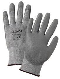 Radnor Glove Small 13 Gauge High Density Polyurethane Seamless Knitgray Polyurethane Palm Knitwrist Salt And Pepper Ansi 2 -1 Dozen Pairs