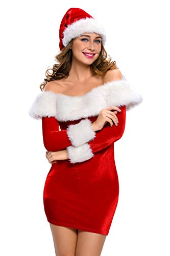 LeaLac Womens Sexy Off Shoulder Cotton Christmas Cosplay Costume Mrs Santa Claus Lingerie L219-7288 Red S]()