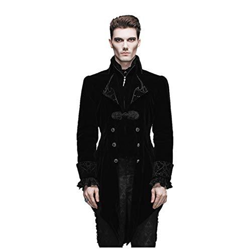 Devil Fashion Black Gothic Vintage Tailcoat Masquerade Party Jacket Men (Black, S)