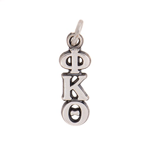 Phi Kappa Theta Fraternity Letter Sterling Silver or 14k Gold Lavalier Necklace with Chain (Silver)