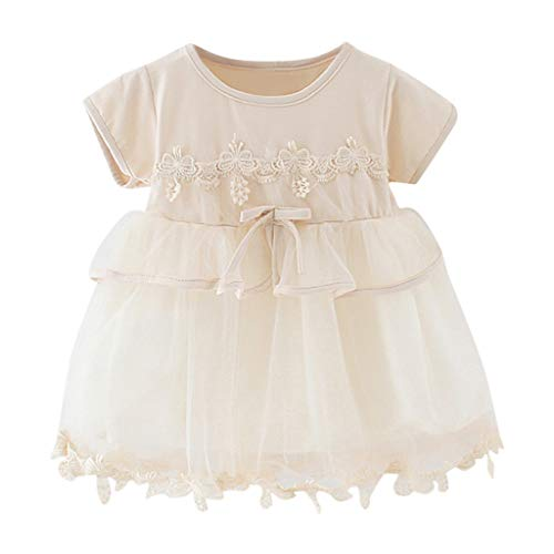 Toddler Girls Lace Floral Tulle Dress Summer Princess Sundress SIN vimklo,6M-3Y Yellow