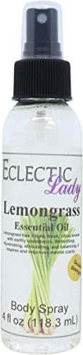 Lemongrass Essential Oil Body Spray (Double Strength), 4 ounces
