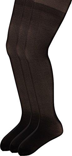 HUE Big Girls' Opaque Tights 3-Pack, Black, Large -