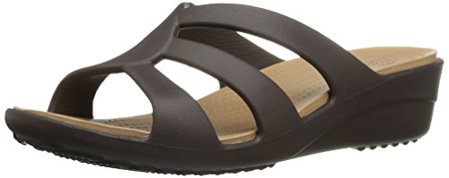 crocs Womens Sanrah Strappy Wedge Espresso