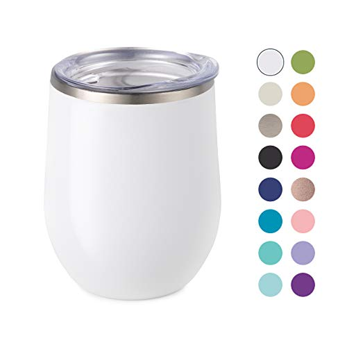 Maars Bev Stainless Steel Stemless Wine Glass Tumbler with Lid, Vacuum Insulated 12 oz White Cup   Spill Proof, Travel Friendly, Classic Cocktail Drinkware