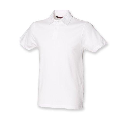 Skinni Fit Herren Stretch Polo Weiß 2XL