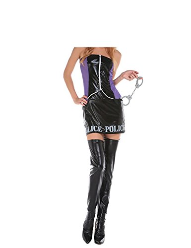 PiterNace Sexy;nice Adult Police Costume Set Halloween Costume Cosplay Black-3X-Large]()