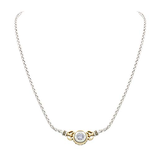 "John Medeiros Solitaire 6MM Cubic-Zirconia Single Round Stone Bezel Setting Gold and Silver Tone 16"" Womens Necklace Strong and Lightweight Made in America Beijos Collection made in Rhode Island"