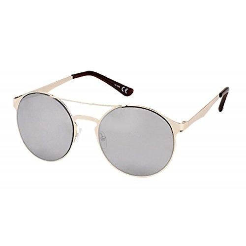 Sonnenbrille Panto Doppelsteg Round 400 UV verspiegelt Metall schwarz golden silber cIR79AZKt