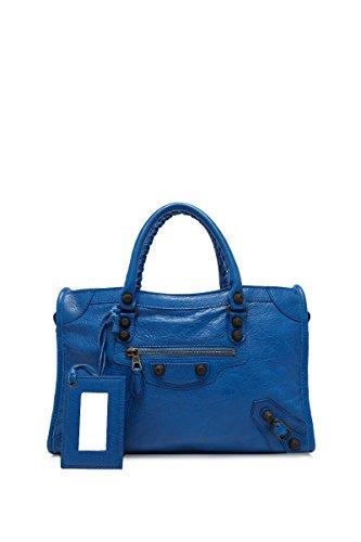 BALENCIAGA WOMEN'S 433353D94JT4249 BLUE LEATHER SHOULDER BAG