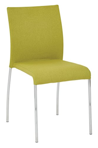 AVE SIX Conway Upholstered Stacking Chair with Chrome Legs, 4-Pack, Spring Green