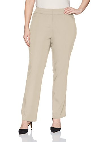 Briggs York Plus Size Women's Split Waist Pant, Cobblestone, 20W