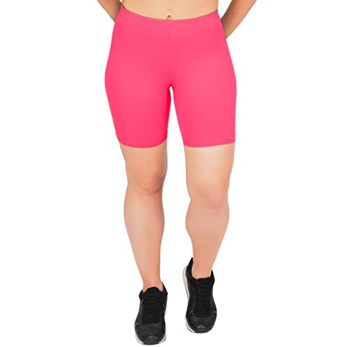 Girls Hot Shorts - Stretch is Comfort Girl's Cotton Bike Shorts Hot Pink Medium