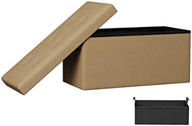 Lavish Home 80-FOTT-14 Folding Storage Bench Ottoman 30 Tufted Foam Padded Lid, Beige