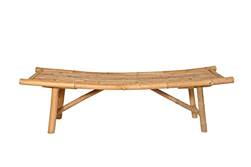 "boohugger Outdoor Bench | Japanese Zen Design | Garden Furniture | Natural Bamboo Asahi Bench | 59""x18""x18"""