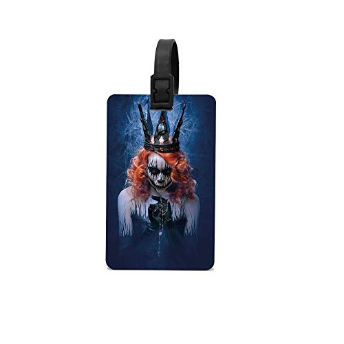 Lovwepilo Queen,Queen of Death Scary Body Art Halloween Evil Face Bizarre Make Up Zombie,Navy Blue Orange Black Custom Personalized Luggage Tag Perfect Gift for Boss and Coworker ()