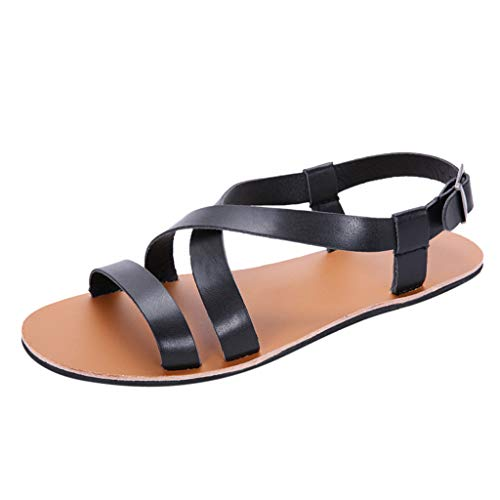 (CCFAMILY Boys Casual Buckle Sandals Men's Fashion Summer New Wild Rome Flat Slip Vintage Shoes Black)