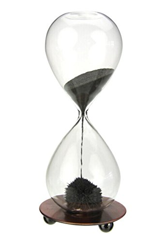 Zicome Hand-blown Glass Sand Timer Magnet Magnetic Hourglass with a Iron Base (Sand Magnet)