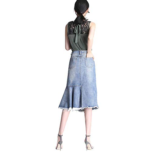 Jupe Boy avec Cow Chambre Moiti De La Femelle Taille Jeans Automne Jupe Blue Longue 2018 Hiver Y0wIanF