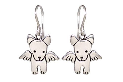 Sterling Silver Angel Dog Earrings 925 Dangle for Women and Girls