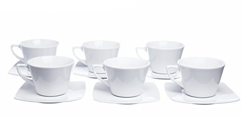 6' China Saucer - MOKKO 12-Piece Tea/Coffee 8.4 oz. Cups Set with Square Saucers (Set of 6)