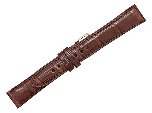 18mm Brown Genuine Crocodile - Matte Padded Stitched - American Factory Direct - Replacement Watch Band Strap - Gold and Silver Buckles Included - Made in The USA by Real Leather Creations FBA465 LT ()